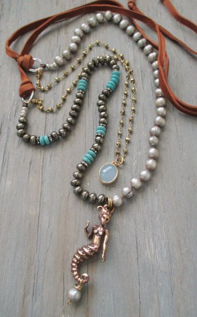 Long mermaid knotted necklace  Bronzed Beauty  by slashKnots, $172.00