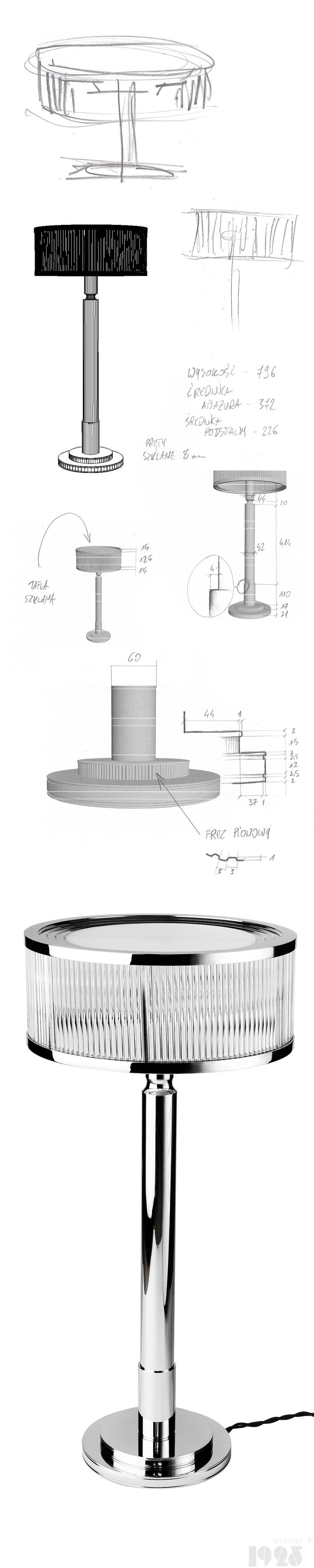 Sketches and design process of timeless and unique, art deco ispired wall lamp by atelier 1925