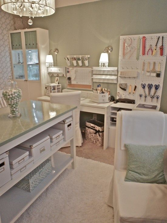 Love this Craft Room <3 <3 <3. Love the ligh and stenciled wall.: Sewing Room, Idea, Peg Board, Home Offices, Craft Rooms, Crafts