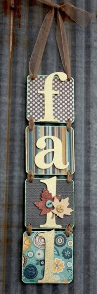 so cute and so easy! Can make any word :) In lieu of wreaths.: Wreaths For Front Doors, Crafts Ideas, Wall Hanging, Fall Decor, Fall Signs, Fall Crafts, Scrapbook Paper, Front Doors Letters, Diy Hanging Letters
