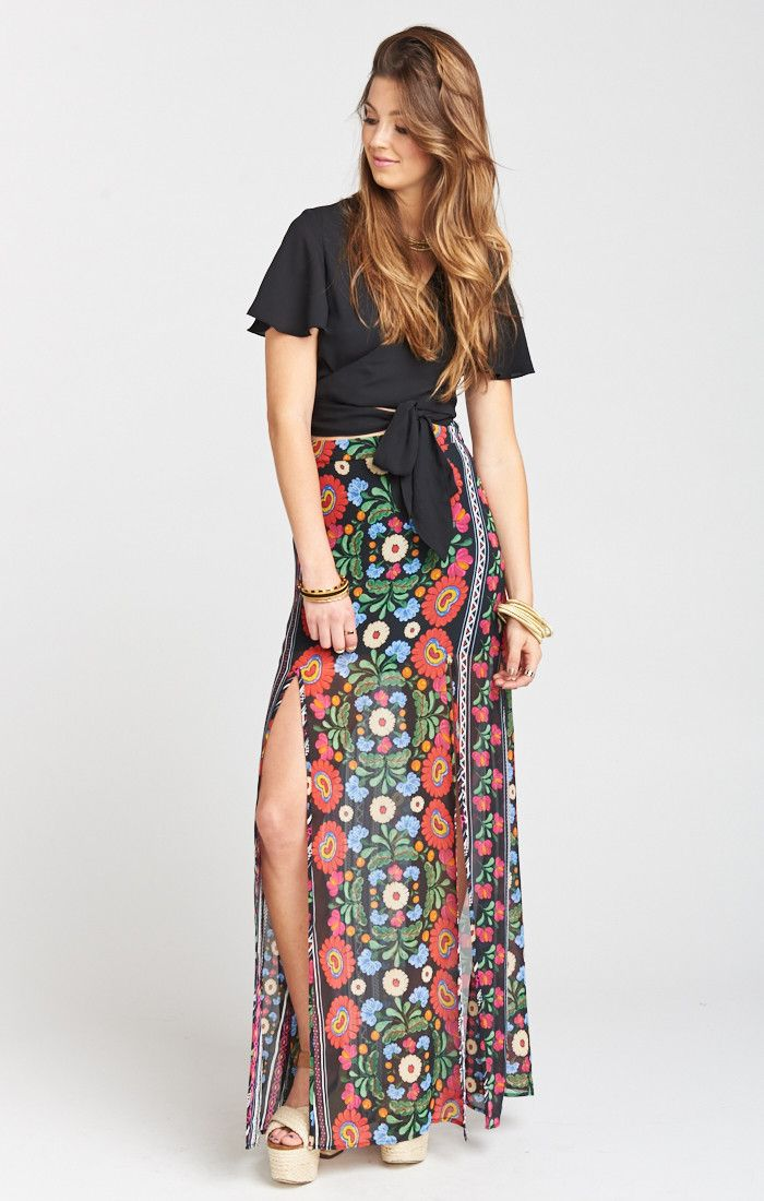 45f77d28a136 Mick Double Slit Skirt ~ Mexicali | S.T.Y.L.E. | Slit skirt, Printed ...