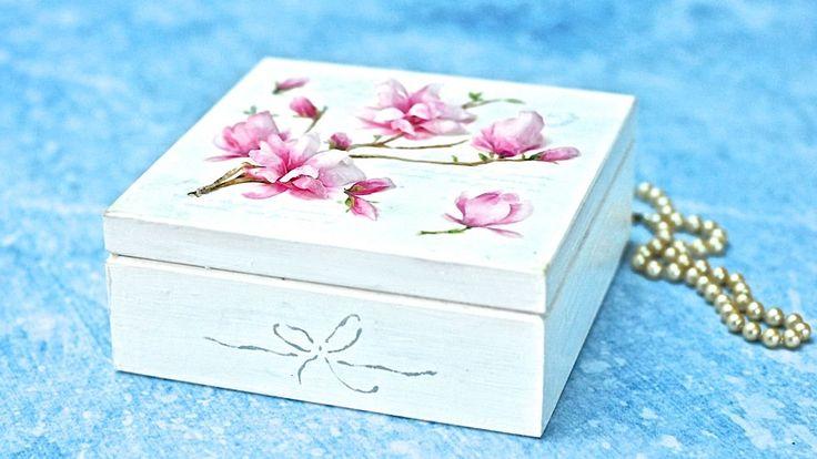 Decoupage 3D  z folią sospeso -  magnolie TUTORIAL DIY