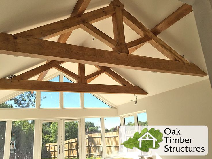 Solid shapes King post Oak Trusses made by ourselves - Oak Timber Structures Ltd