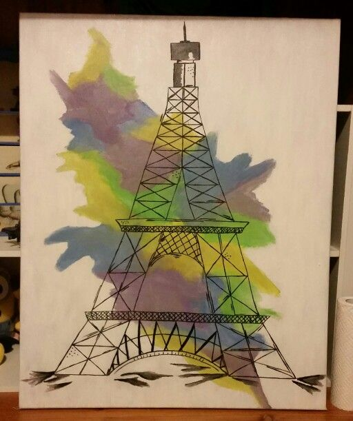 Paris painting on canvas for my friends birthday