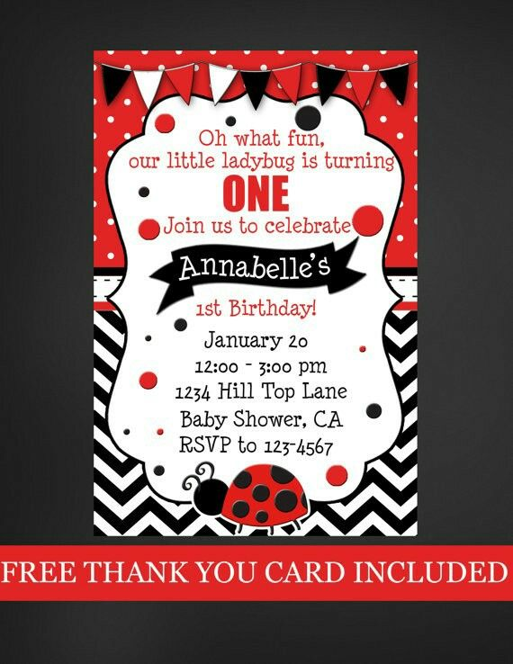 262 best Vaquitas de San Antonio images on Pinterest Ladybugs - best of invitation for 1st birthday party free