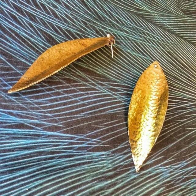 Make a Statement! Custom hammered brass big leafy stud earrings inspired by nature, fresh for spring!   #statementjewellery #spring #leaf #brass #hammered #handmade #earrings custom #jewellery #slashpiledesigns