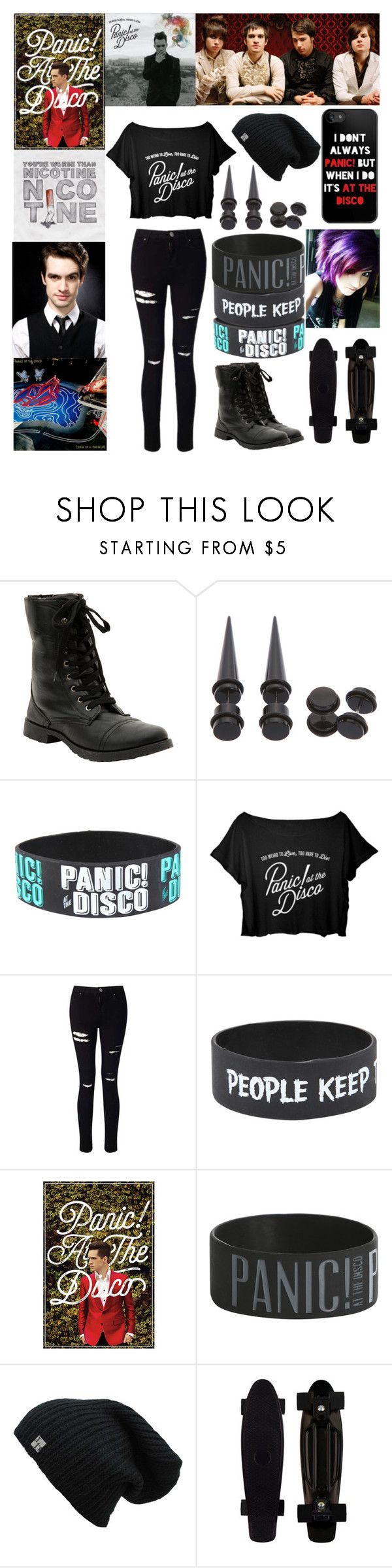 """Panic! at the Disco"" by scene-bean ❤ liked on Polyvore featuring Hot Topic and Miss Selfridge"