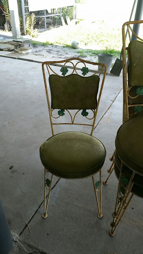 Vintage Wrought Iron Chairs And Table Frame For Sale In Orlando