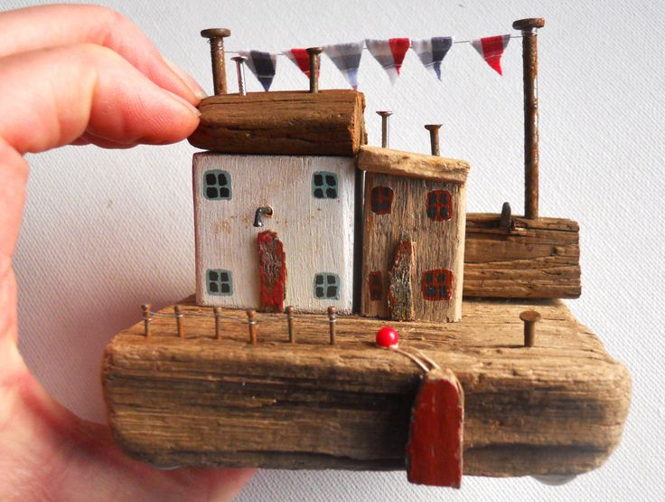 Driftwood Houses, Driftwood Cottages, Driftwood Harbour, Quaint Quayside Cottages, Quirky Houses, Whimsical Miniature Houses, Small Cottage by BeadyMagpie on Etsy