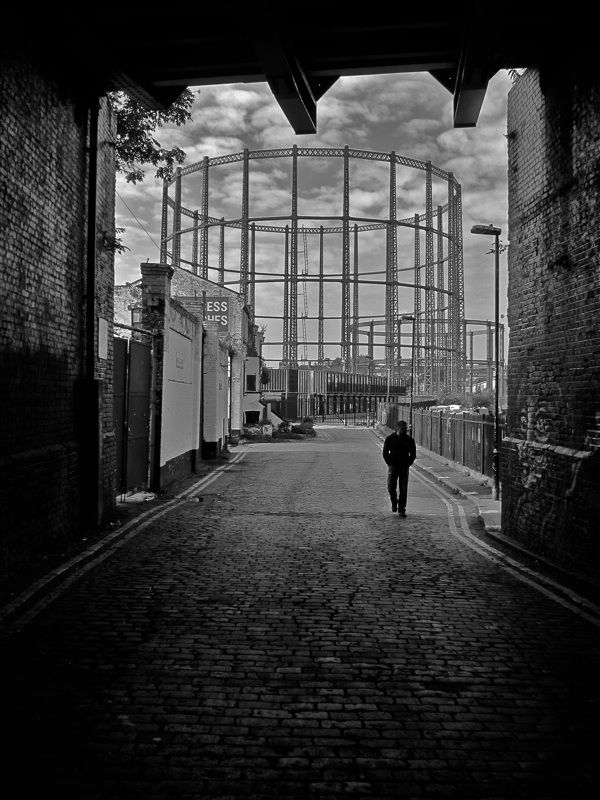 Gorgeous Gasometer of Bethnal Green, London. From Spitalfields blog.