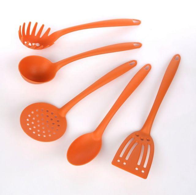 Zestaw 5 narzędzi kuchennych, nylon, pomarańczowy