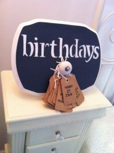 Remember Birthdays! Materials you will need to create your own Birthday Reminder Board - see how to make one at http://darlingstreet.com.au/2013/05/26/diy-birthday-reminder-boards/