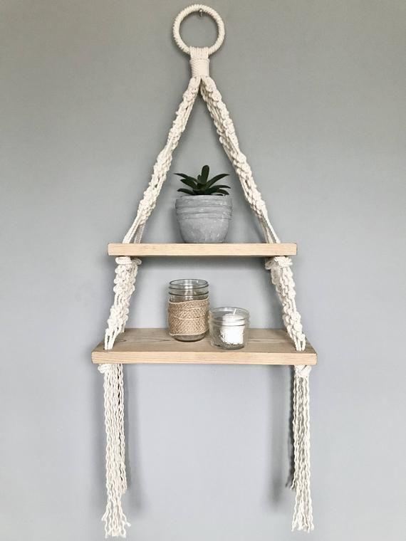Macrame dubbele opknoping plank//houten opknoping plank//Boho stijl//macrame decor//nautische decor//Beach House decor