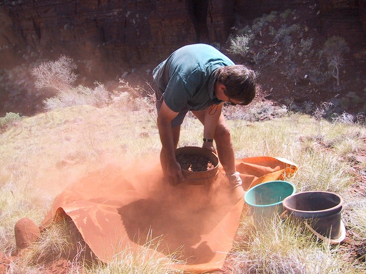 De Beers Australia Field trip, October 2003. Mark Mitchell screening a loam sample.