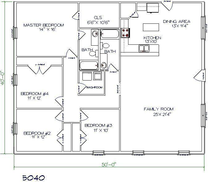 Barndominium Floor Plan Bedroom Bathroom Metal House Plans