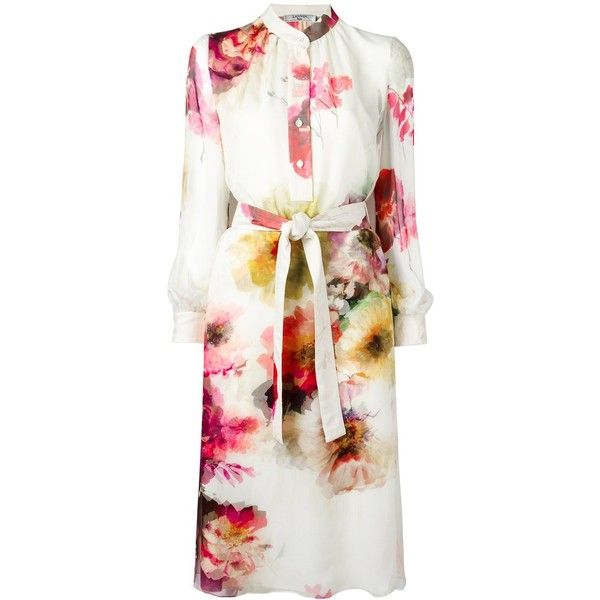 Lanvin belted floral shirt dress (133.819.040 VND) ❤ liked on Polyvore featuring dresses, beige, long-sleeve shirt dresses, white knee length dress, belted shirt dress, white shirt dresses and white long sleeve dress