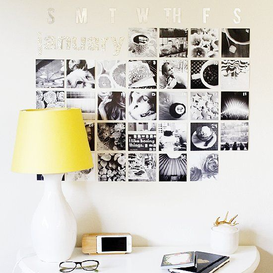 Make your own Instagram calendar using black & white photo prints! Easy to make and easy to change out every month.