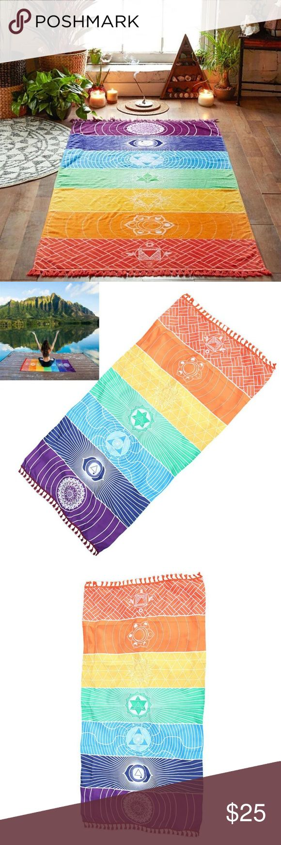 Rainbow Chakra Visionary Art Tapestry Mat Great item for festival season!  Very bright and beautiful multi-colored tapestry with the 7 chakra symbols and geometric patterns that would look great hung on a wall, laid flat on the ground at a festival or picnic or used as a table runner.  Very soft and light, not thick enough to be used as a yoga mat or a towel but can be placed on top of a yoga mat for comfort.  Fringe accents on both ends.  100% Polyester.  Machine wash cold, tumble dry low…