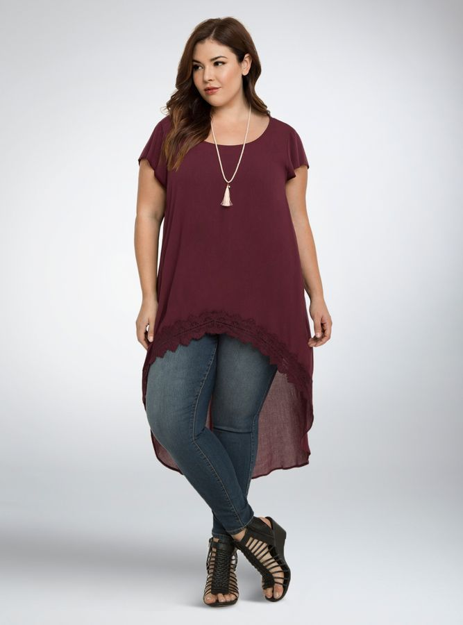 Plus Size Lace Trim Extreme Hi-Lo Top