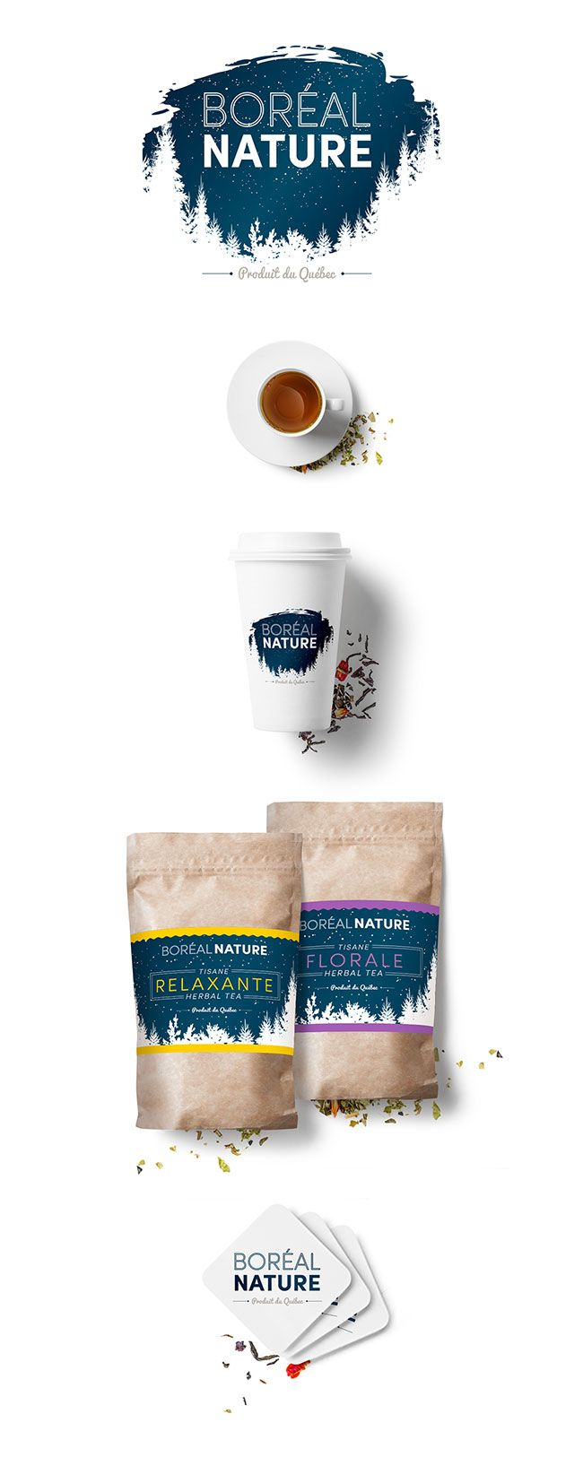 Food packaging. Herbal Tea packaging design. Design graphique image de marque tisane Boréal Nature.