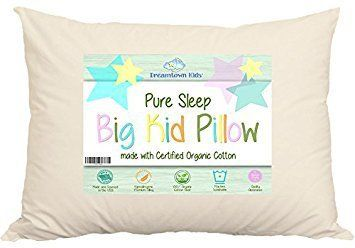 """Product review for Large Toddler Pillow by Dreamtown Kids For Growing Kids Not Quite Ready For Adult Size. Delicate Handmade Organic Cotton Shell. Your Pure Sleep 16x22 Size Works With Toddler & Kids Beds. Made In USA..  - THE IDEAL PILLOW FOR YOUR KID Has your kid grown up and ready for their next pillow? Move them up to something that is the right size: a Pure Sleep """"Big Kid"""" Pillow with a Certified Organic Cotton shell by Dreamtown Kids. We designed this pillow"""