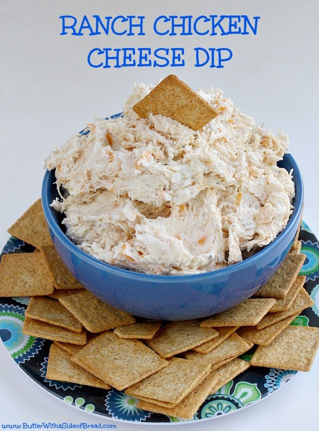 Ranch Chicken Cheese Dip - Only 4 ingredients and less than 5 minutes to make and serve!  Butter With a Side of Bread #recipe