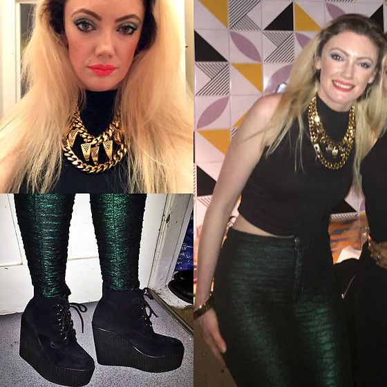 Get this look: http://lb.nu/look/8171467  More looks by Roxanne Rokii: http://lb.nu/roxannerokii  Items in this look:  Mawi Gold Necklace 2016, Primark Black Top 2015, Motel Green Metallic Pants 2013, Underground Wedge Brothel Creepers   #rokii #roxm #fashion #clothing #style #look #stylist #ootd #mystyle