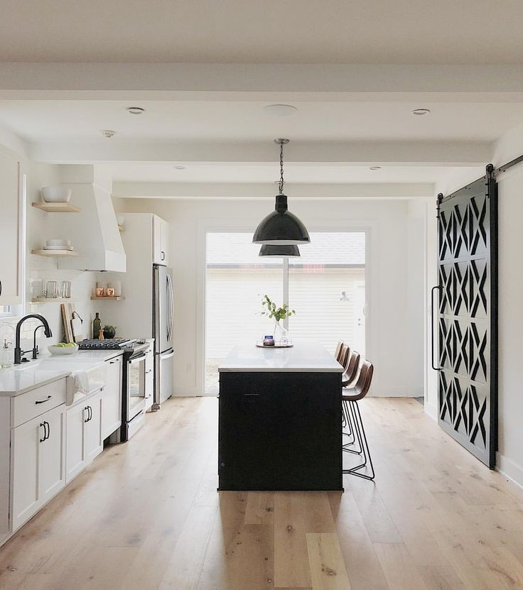 White kitchen, black island and accents