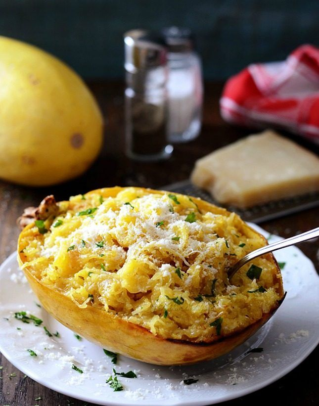 Baked Spaghetti Squash With Butter + Parmesan Cheese.