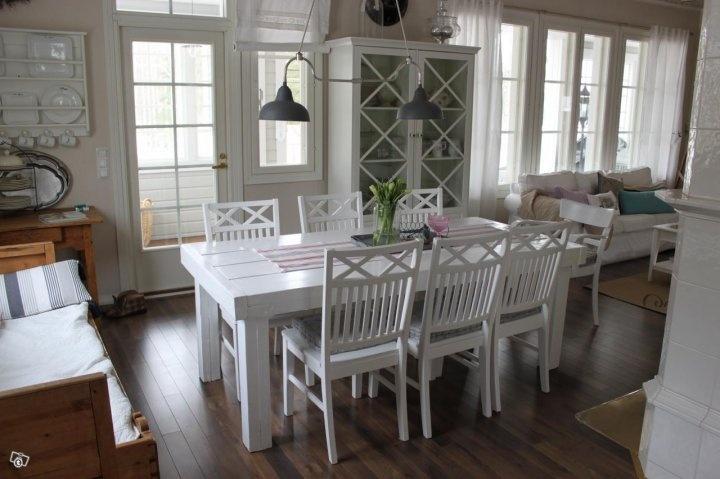 Maalaisromanttinen valkoinen lankkupöytä  Keittiö  Pinterest