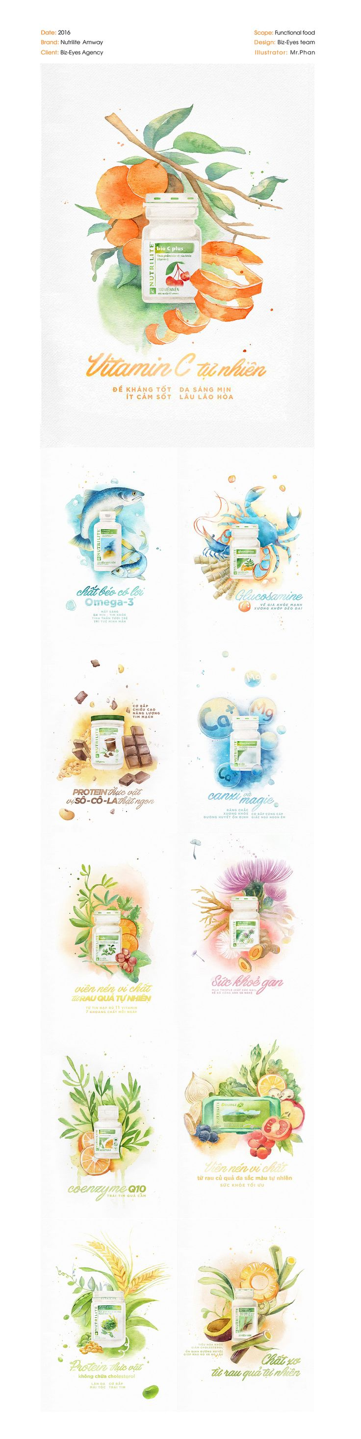 There are 11 paintings for Nutrilite Amway, illustrations by me and beautiful typography by Biz-Eyes designers. Hope you like my works and tasty Nutrilite's product as well..Watercolor on Canson paper