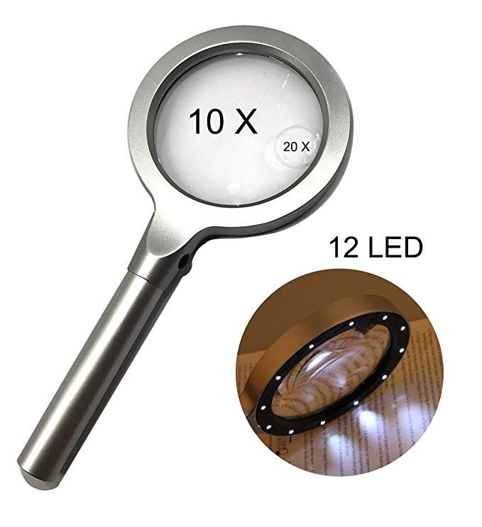 Large Led Handheld Magnifying Glass 10 X 20x Full Metal Lighted