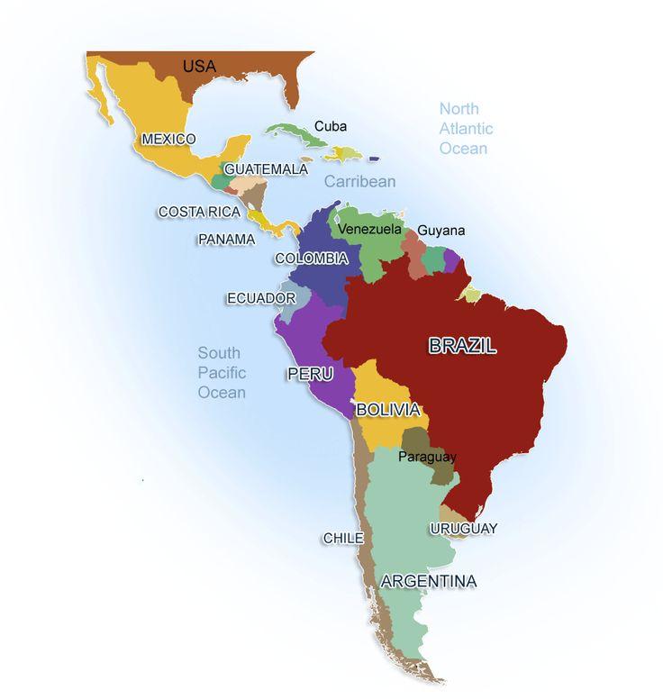 central america:  Jamaica,Cuba,Nicaragua,Mexico,Guatemala,Panama,Haiti,Costa Rico,Honduras,Belize,Dominican Republic.  South America:  Columbia,Brazil,Ecuador, Venezuela,Chile,Peru,Argentina,Bolivia, French Guiana , Guyana, Paraguay,Uruguay, Suriname