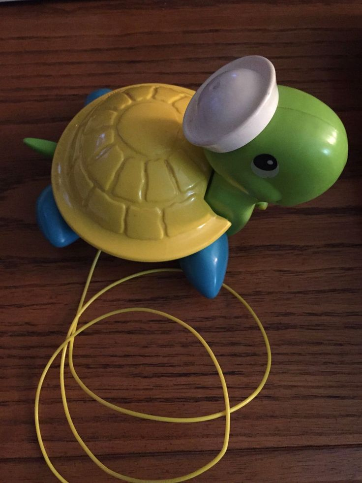 Vintage 1977 FISHER PRICE Classic TAG ALONG TURTLE Pull Along Toy Toddler  | eBay
