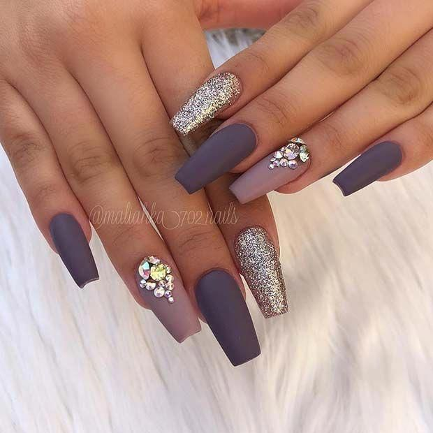 Matte Grey Coffin Nails With Rhinestones And Glitter Matte Nails Design Rhinestone Nails Coffin Nails Matte