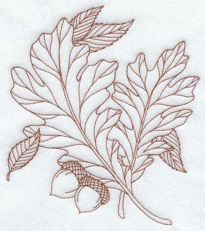 bluework--oak leaves with acorns
