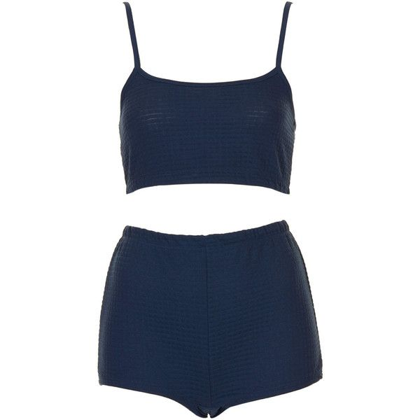 TOPSHOP Textured Crop Top and Shorts ($24) ❤ liked on Polyvore featuring shorts, pajamas, underwear, tops, two pieces, navy blue, high waisted two piece y topshop