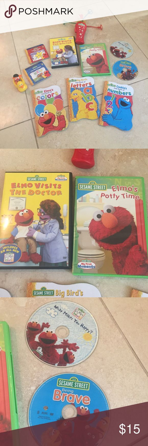 Elmo potty time DVD lot of 4.    Books & more lot Elmo potty time DVD lot of 4.    Books & more lot... Elmo spinner toy needs battery so considered when pricing but I'm sure I'll find something else to throw in too! ( see my love notes and shop with confidence) also added finger puppet Elmo book which is super cute retails 6.00 and also guess who Elmo book that pages fold over for added fun and pop up picture that one of the pages are ripped and needs repair ! Sesame Street Accessories
