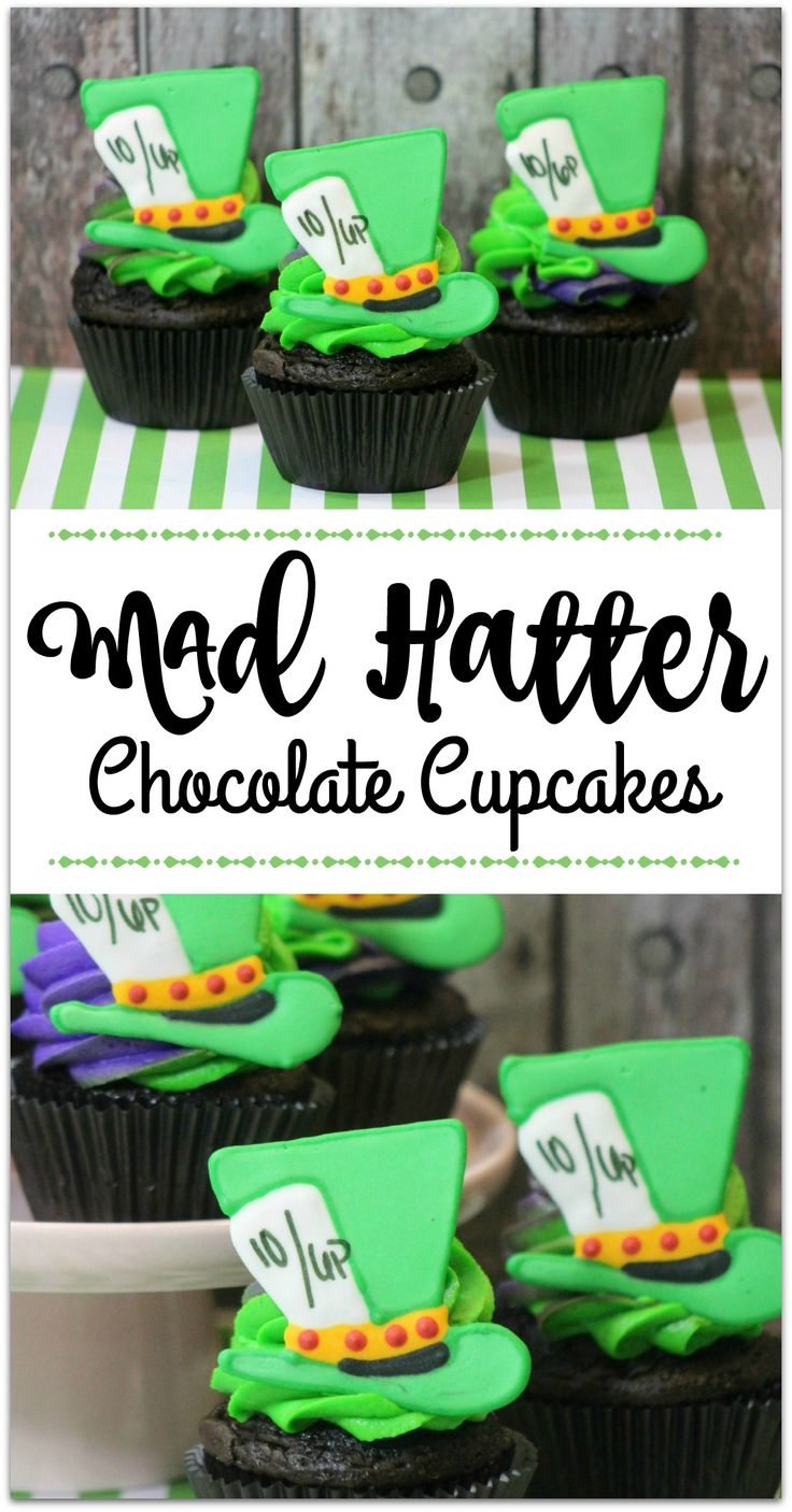 Who's excited for Alice Through the Looking Glass? I can't wait! These Mad Hatter Cupcakes would be so much fun at a Alice party! The recipe is a little tedious, but anyone can do it! Surprise your friends and family! Add some fun finger food appetizers and end the night with this special dessert!