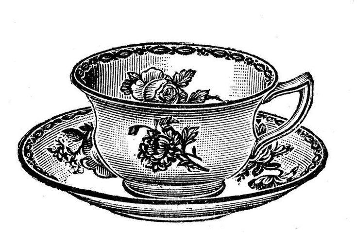 Teetasse mit Untersetzer und Blumenmotiven
