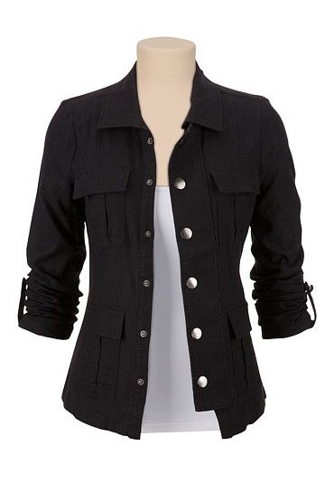 4 Pocket Military Shirt Jacket  available at #Maurices