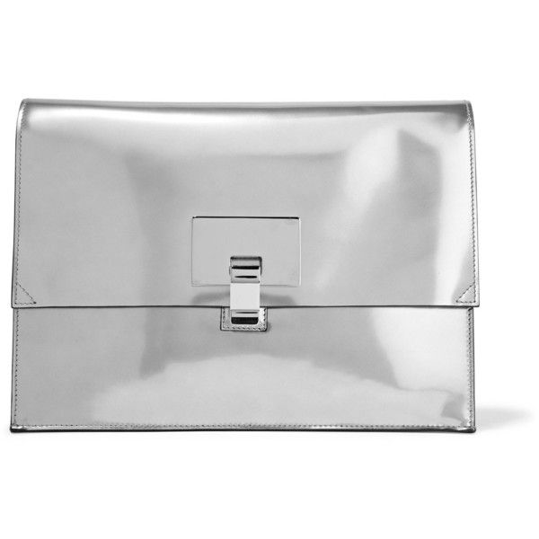 PROENZA SCHOULER   Large Lunch Bag mirrored leather clutch ($425) ❤ liked on Polyvore featuring bags, handbags, clutches, proenza schouler, kiss-lock handbags, proenza schouler pochette, proenza schouler purse and black and silver handbags