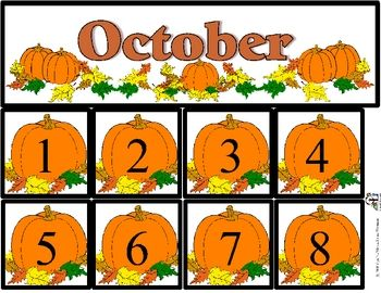 Free October Calendar Set includes month and number cards ...