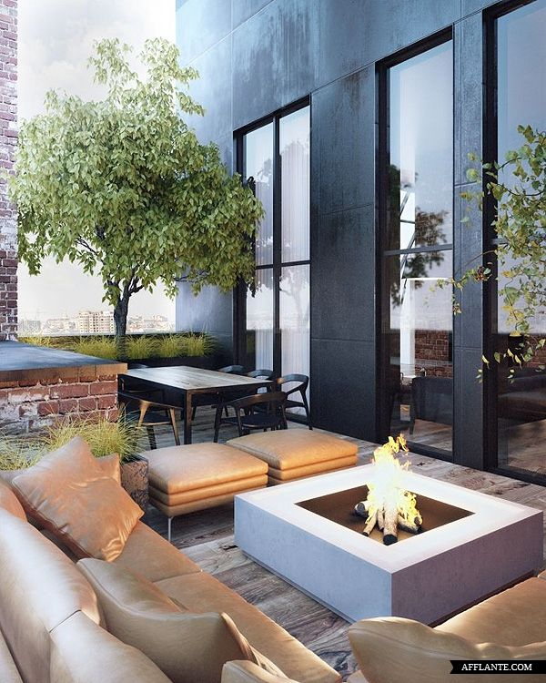 Rooftop garden with fire pit. Pinned to Garden Design - Roof Gardens by Darin Bradbury.
