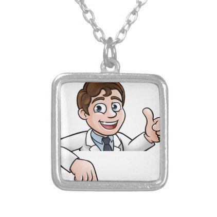 Scientist Cartoon Character Sign Silver Plated Necklace - jewelry jewellery unique special diy gift present