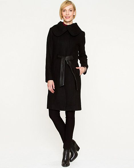 Melton Spread Collar Belted Coat