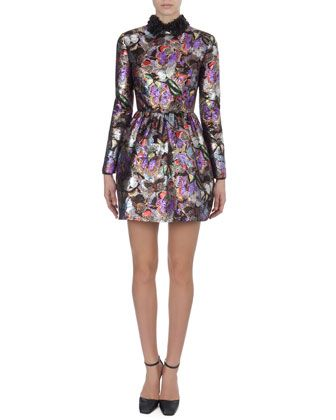 Metallic Butterfly-Print Dress with 3-D Flower Collar by Valentino at Neiman Marcus.