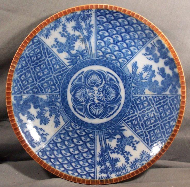 Antique Edo Japanese Blue White Doban Imari Porcelain Plate Transferware | eBay