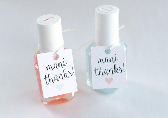 Mani Thanks Custom Bridal Shower Favor Tags by theglitterpress