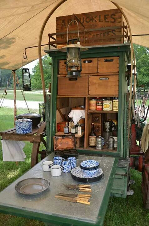 110 best chuck wagons images on pinterest camping for Outdoor camping kitchen ideas